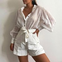 Women's Jackets Women Shirts Spring Autumn Fashion Solid Color Puff Sleeve Ladies Blouse Soft Long Sexy Button Shirt Loose Tops For