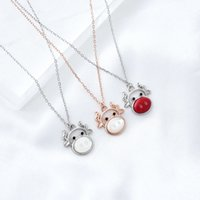Colares Weiheng jóias S925 Ano de prata do boi branco fritililária moda feminina cadeia de clavícula