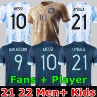 Argentinien Fußball Jersey Fans und Player Version 2021Commemorative Edition Copa America Messi Dybala Aguero Football Shirt Männer + Kinder Kit Sets Uniformen 20 21