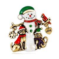 Factory Danrun new style fashion cartoon alloy inlaid with diamond oil Christmas Snowman versatile Brooch christmas