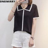 Uneimirry plus размер женщины футболки рубашка льда шелкография вязаные короткими рукавами кнопки футболки вершины лето 2021 Mujer CamiSetas женщин