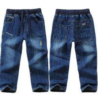 Jeans Blau für Jungen Klassische Modedesign Elastische Taille Kinder Denim Hosen 3-14 Jahre Hosen LM121