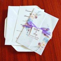 50pc polvory azul velo envoltura para la invitación de boda con la etiqueta y el sobre DIY Tarjetas de felicitación de la fiesta de la impresión personalizada de DIY