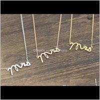 Pendant & Pendants Jewelry Drop Delivery 2021 10Pcs Gold Sier Dainty Mrs Small Stamped Word Initial Necklace Simple Love Alphabet Letter Neck