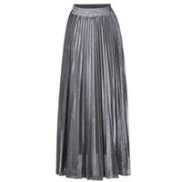Skirts Womens High Waist Metallic Shimmer Solid Color Pleated A-Line Maxi Long Skirt 50JB