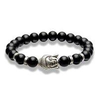 Bracciale da uomo in pietra naturale di lava perline Buddha Stretch Ciondolo Signore Gioielli Gioielli Amici regalo perline, fili