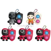 Squid Games Sensory Bubble Keychain Pendant Toys Fidget Simple Dimples Decompression Silicon Toy Halloween Decor Gift Square Triangle Round Mask Wholesale