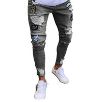 Men's Jeans Men Skinny Ripped Baggy Ankle Tied Denim Trousers Fashion High Streetwear Embroidery Printed Hole Male Pencil Pants