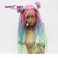 Unicornio Sirena Rainbow Braids Pelo Lace Frente Peluca Sintético Colorido Africano Pelo sucio Dreadlock Pelucas para Mermaid Regge Cosplay