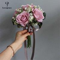 Lovegrace Mariée Rose Bouquet De Mariage Fournitures De Mariée Demande d'honneur Rose Bébé Bébé Bébé Bouquet Arrangement de fleurs DIY Accueil Partie de la maison Décor X0726