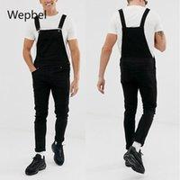 Wepbel Strap Homme à la mode Denim Rompers Plus Taille Pantalon Jeans déchiré Pantalon lavé Casual Black Crayon Denim Pantalon