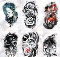 Sağlık Güzellik Bırak Teslimat 2021 Aile Gül Zaman Saat Kafatası Geçici Dövme Sticker Akrep Kulesi Su Geçirmez Tattoos Vücut Sanatı Kol Sahte