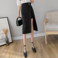 Saias desviador split nátroca saia de comprimento médio primavera 2021 estilo feminino moda a-step