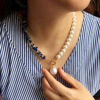 Ожерелья подвеска Старинные натуральные камни тумблер для ожерелья для женщин девушки искусственные жемчужные асимметричные цепи богемные украшения