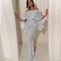Sequined Butterfly Sleeve Long Dress Women Skirt Fringe Elegant Sexy Party Club Dresses Evening Robe
