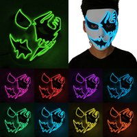 Luminous Face Mask Halloween Decorations Hand Painted LED Dancer Party Cosplay Masquerade Street Dance Rave Toy XD24819