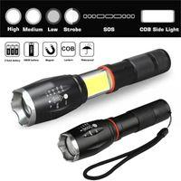 LED ricaricabile ad alta potenza con un magnete T6 + COB 18650 Torch Torch Lantern Camping Light Lampada da lavoro Torce Torce