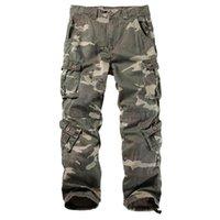 Pantalones de carga de algodón para hombre 8 bolsillos de trabajo casual Pantalones de combate Ejército Masculino Camo Pant MÁS TAMAÑO 40 42 44