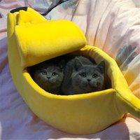 Forma de plátano Perro doméstico para perros Casa de gato Matera Durable Kennel Doggy Cachorro Cojín Cesta CALIENTE Suministros portátiles S / M / L / XL Muebles de cama