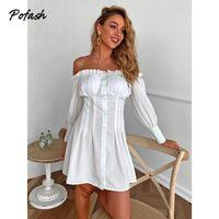 Blanco Off Hombro Mini vestido para mujeres con volantes de manga larga Botón sin respaldo Vestidos de otoño Slim Casual 2021 Vestidos