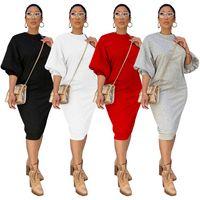 Элегантная мода сплошной женской футболки платье ранней осени наполовину фонарика рукава корпус платья простое женское колена