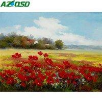 Peintures Azqsd Paint By Numbers Paysage DIY DIY Acrylique Acrylique Accueil Décoration Coloriage Fleur sur Toile Mur Art