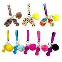 Néoprène Key Chain Party Cadeaux Cadeaux Ensemble Peluche Baller Bracelet Bracelet Lady Sac Pendentif Lipstick Sacs De Emballage Sacs Chapsticks Titulaires Kits Pochette HH21-318