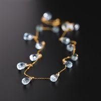 Gypsophila topacio collar femenino genuino amarillo 18k color de oro piedras preciosas cadena de clavícula cadena colgante