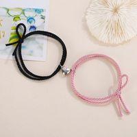 2pcs pair 2021 Fashion Magnet Couple Bracelets For Lovers Handmade Elastic Thread Braslet BFF Braclet Beach Accessories Joyas Charm