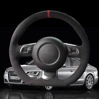 Handgenähte schwarze Alcantara-Lenkradabdeckung für Audi TT TTS (8J) 2006-2014 A3 S3 (8P) Sportback 2008-2012 R8 (42)