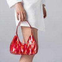 Lüks Deri Küçük Çanta Tasarım kadın Lake Amber Baskılı Shell Çanta PU Fermuar Parlak Renkli Çanta
