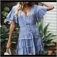 Casual Clothing Apparel Drop Delivery 2021 Floral Summer Boho Sundress Holiday Party Clothes Ladies Flower Print Women Mini Dress Sexy Womens