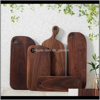Multi Size Round Wood Food Snack Kitchen Black Walnut Dishes Rec Lunch Fruit Bread Cake Tea Plates Pizza Trays Bh1605 Tqq On7S O1263