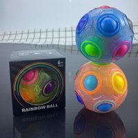 Rainbow Magic Cube Luminoso Bola Montessori Niños Toy Spin Spin Top Magic Anti Stress Revive Cbue Ball Ball Caesers juego Kid Adult Juguetes Regalo