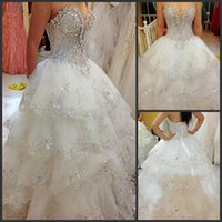 Ball Gown Princess Wedding Dresses Layered New Arrival Elegant Bridal W1429 Best Made Spring Crystal Gorgeous Shiny Stunning Beau