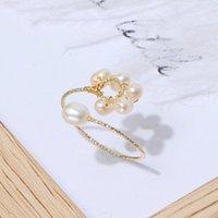 Joyería hecha a mano de anillo al por mayor para mujer, simple, tejido, tejido, anillo de perlas de agua dulce, cuentas de arroz