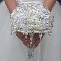 Diamètre à la main de luxe 18cm Bouquet de mariage argenté Cristal Strass Broches Broches Bijoux Bridal Main Fleur Fleurs Décoratives Fleurs
