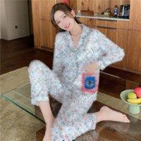 Старинные цветы напечатанные Pajama набор мягкие сенсорные удобные спящие одежды женские поворотный воротник с длинным рукавом Pajamas