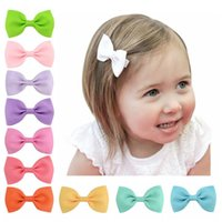 Pcs Mini 2.75'' Bow Tie Hair Clip Small Sweet Solid Ribbow Safety Clips Kids Hairpins Accessories Gift 643