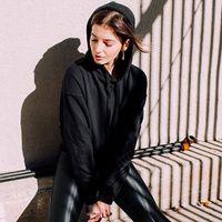Schwarze Spleißkordelzug Lose Bluse Langarm Print Hoodied Sweatshirt Tops Mode Frauen Sport Kleidung Moletom Com Capuz Frauen Hoodies