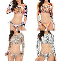 Women's Swimwear Long Sleeve Sunscreen Swimming Suit For Women2021 Leopard Print Sexy, Open Back Bikini Straps Split Swimsuit Set