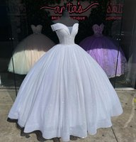 Sparkly White Ball Gown Quinceanera Dresses V neck Off the shoulder Princess Sequined Tulle Crystal Beaded Top Sweet 15 16 Charra Prom Evening Formal Party Dress