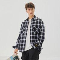2021 diseñadores para hombre vestido camisas de moda moda casual manga larga camisa a cuadros marcas hombres primavera celosía color sólido color formal