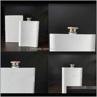 Şişeler 8 oz Beyaz Hip Flask Paslanmaz Çelik Süblimasyon Boş Pot DIY Cep Mini Açık Kamp Şarap Şişeleri Drinkware 12 5BW G2 BRB8 WCVMA