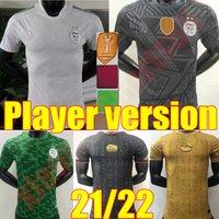 21 22 Oyuncu Sürüm Cezayir Futbol Formaları 2021 2022 Ev Mahrez Brahimi Bennacer 2 Yıldız Cezayir Erkekler Maillot de Futbol Shirtsuniform