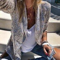 Paillettes Blazers Femmes manches longues manches brillantes Blazer Manteau Silver Sequin bureau veste femme chimise D40 costumes de femmes