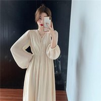 Autumn French Retro Pleated Dresses For Women 2021 HK Style ...