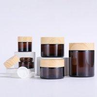Amber 5G 10G 15G 30G 50G 100G Crema di vetro bottiglie di creme per occhi Pot vasetti cosmetici con tappo di grano in legno di plastica