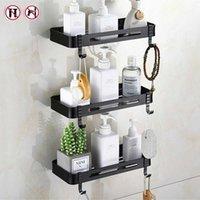 Drill-free toilet triangle shelf bathroom corner wall hanging bath space aluminum toilet storage shelf X0715