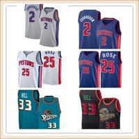 "2021 Cade 2 Cunningham Jersey Detroit ""Pistons"" Basketball Jerseys Grant 33 Hill Derrick 25 Rose Isiah 11 Thomas Dennis10 Rodman"